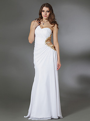 cheap Cocktail Dresses-Sheath / Column Cut Out Open Back Beaded & Sequin Formal Evening Military Ball Dress One Shoulder Sleeveless Floor Length Chiffon with Side Draping 2020