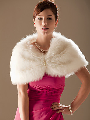 cheap Wedding Wraps-Sleeveless Shrugs Faux Fur Wedding Wedding  Wraps / Fur Wraps With Beading