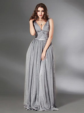 cheap Special Occasion Dresses-Sheath / Column All Celebrity Styles Inspired by Venice Film Festival Formal Evening Military Ball Dress V Neck Sleeveless Floor Length Chiffon with Criss Cross Pleats Ruched 2020