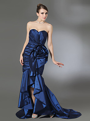 cheap Evening Dresses-Mermaid / Trumpet Open Back Formal Evening Military Ball Dress Strapless Sweetheart Neckline Sleeveless Court Train Taffeta with Ruffles Draping Split Front 2020