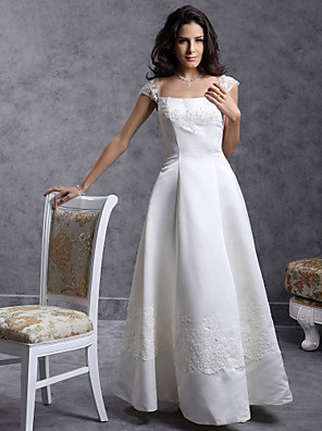 cheap Mother of the Bride Dresses-Princess Ball Gown A-Line Wedding Dresses Square Neck Floor Length Satin Short Sleeve with 2020