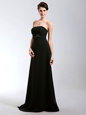cheap Cocktail Dresses-Sheath / Column All Celebrity Styles Inspired by Cannes Film Festival Formal Evening Military Ball Dress Strapless Sleeveless Floor Length Chiffon Satin with Draping 2020
