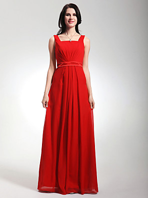 cheap Mother of the Bride Dresses-Sheath / Column Straps Floor Length Chiffon / Stretch Satin Bridesmaid Dress with Draping