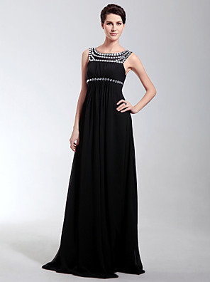 cheap Cocktail Dresses-Sheath / Column Open Back Formal Evening Military Ball Dress Scoop Neck Sleeveless Floor Length Chiffon with Pleats Crystals 2020