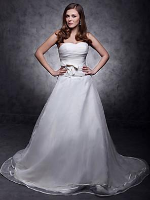 cheap Bridesmaid Dresses-Princess A-Line Wedding Dresses Strapless Sweetheart Neckline Court Train Organza Satin Sleeveless with 2020