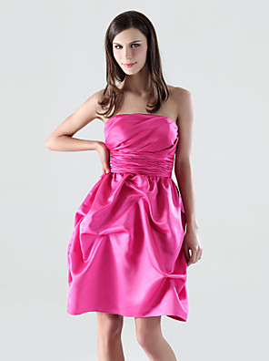 cheap Wedding Dresses-A-Line Strapless Short / Mini Satin Bridesmaid Dress with Pick Up Skirt / Ruched