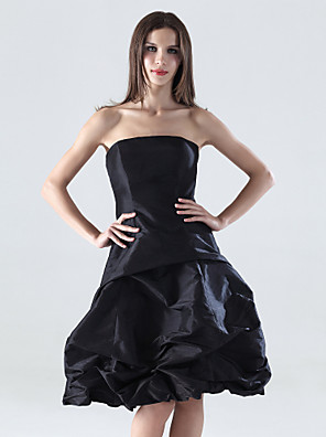 cheap Special Occasion Dresses-A-Line Little Black Dress Wedding Party Dress Strapless Sleeveless Knee Length Taffeta with Pick Up Skirt 2020