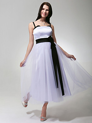 cheap Special Occasion Dresses-Ball Gown Formal Evening Military Ball Dress Spaghetti Strap Sleeveless Tea Length Tulle Stretch Satin with Sash / Ribbon Draping 2020