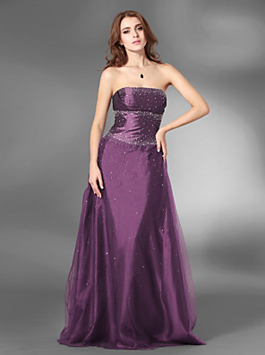cheap Cocktail Dresses-Ball Gown Open Back Prom Formal Evening Military Ball Dress Strapless Sleeveless Floor Length Satin Tulle with Beading 2020