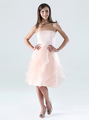 cheap Mother of the Bride Dresses-A-Line Strapless Knee Length Organza / Satin Bridesmaid Dress with Ruffles / Cascading Ruffles / Open Back