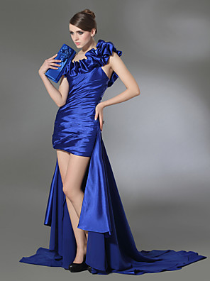 cheap Special Occasion Dresses-Sheath / Column High Low Prom Formal Evening Dress One Shoulder Sleeveless Court Train Chiffon Stretch Satin with Ruffles Draping Side Draping 2020