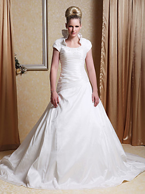 cheap Wedding Dresses-Princess A-Line Wedding Dresses Scoop Neck Chapel Train Taffeta Short Sleeve with 2020