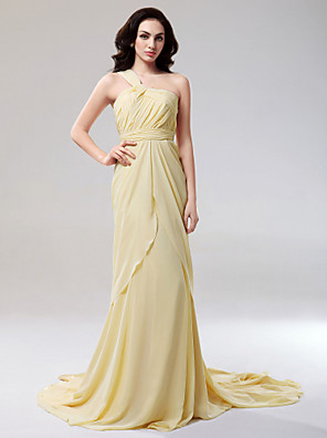 cheap Cocktail Dresses-Sheath / Column All Celebrity Styles Inspired by Emmy Open Back Formal Evening Military Ball Dress One Shoulder Sleeveless Court Train Chiffon with Side Draping Split Front 2020