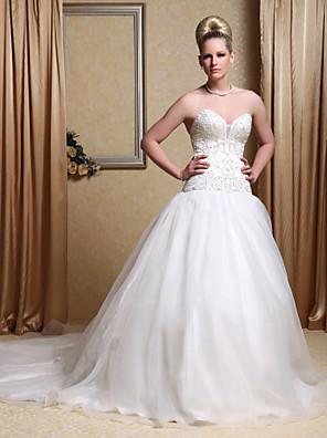 cheap Bridesmaid Dresses-Ball Gown Wedding Dresses Strapless Sweetheart Neckline Chapel Train Organza Satin Sleeveless Sparkle & Shine with 2020