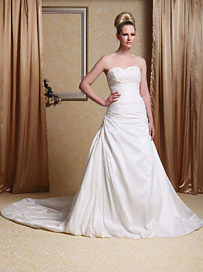cheap Mother of the Bride Dresses-Princess A-Line Wedding Dresses Sweetheart Neckline Cathedral Train Taffeta Sleeveless Open Back with Ruched Beading Appliques 2020