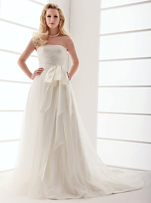 cheap Wedding Dresses-A-Line Wedding Dresses Strapless Sweep / Brush Train Tulle Sleeveless with Bowknot Sash / Ribbon Criss-Cross 2020