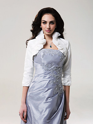 cheap Wedding Wraps-Coats / Jackets Taffeta Wedding Wedding  Wraps With Ruffles