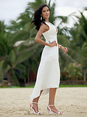 cheap Wedding Dresses-A-Line Wedding Dresses V Neck Asymmetrical Chiffon Spaghetti Strap Formal Casual Backless with Ruched 2020