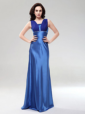 cheap Special Occasion Dresses-Sheath / Column Formal Evening Wedding Party Dress Square Neck Sleeveless Floor Length Chiffon Charmeuse with Beading Draping 2020