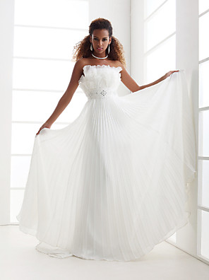 cheap Wedding Dresses-Sheath / Column Wedding Dresses Scalloped-Edge Sweep / Brush Train Chiffon Sleeveless with 2020