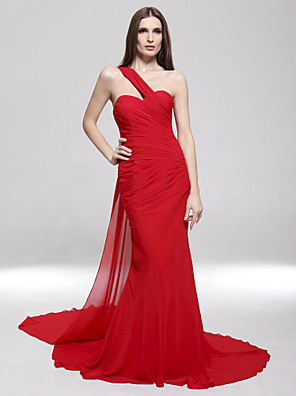 cheap Special Occasion Dresses-Mermaid / Trumpet Celebrity Style Open Back Formal Evening Military Ball Dress One Shoulder Sleeveless Sweep / Brush Train Chiffon with Side Draping 2020