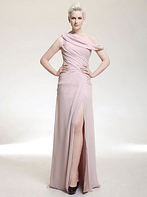 cheap Cocktail Dresses-Sheath / Column Formal Evening Military Ball Dress One Shoulder Off Shoulder Sleeveless Floor Length Chiffon with Side Draping Split Front 2020