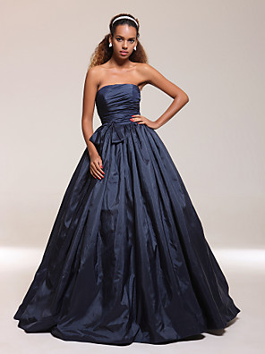 cheap Special Occasion Dresses-Ball Gown Quinceanera Prom Formal Evening Dress Strapless Sleeveless Floor Length Taffeta with Bow(s) Pleats Ruched 2020