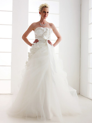 cheap Mother of the Bride Dresses-Princess A-Line Wedding Dresses Strapless Floor Length Taffeta Tulle Sleeveless with 2020
