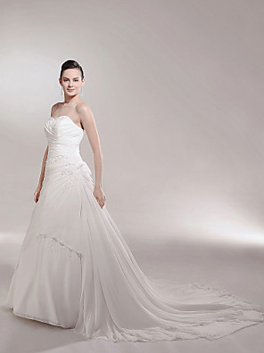 cheap Wedding Dresses-Princess A-Line Wedding Dresses Strapless Sweetheart Neckline Cathedral Train Chiffon Sleeveless with 2020