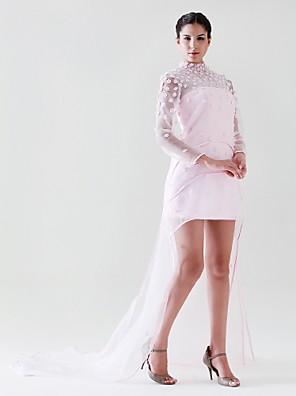 cheap Special Occasion Dresses-Sheath / Column All Celebrity Styles Inspired by Venice Film Festival Cocktail Party Formal Evening Dress High Neck Long Sleeve Court Train Asymmetrical Organza Stretch Satin with Beading Flower 2020