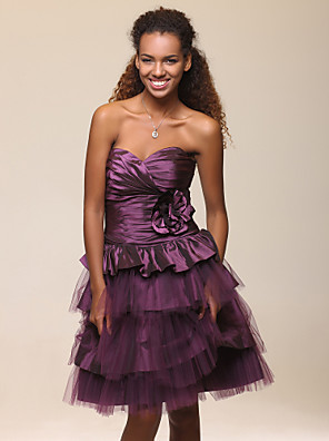 cheap Special Occasion Dresses-Ball Gown A-Line Homecoming Cocktail Party Sweet 16 Dress Strapless Sweetheart Neckline Sleeveless Knee Length Taffeta Tulle with Ruched Flower 2020