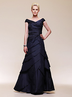 cheap Evening Dresses-Ball Gown Elegant Formal Evening Wedding Party Military Ball Dress Off Shoulder Short Sleeve Floor Length Taffeta with Criss Cross Beading 2020