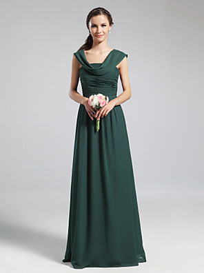 cheap Bridesmaid Dresses-A-Line Cowl Neck Floor Length Chiffon Bridesmaid Dress with Pleats / Ruched / Draping