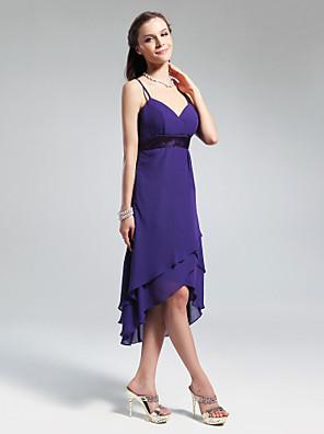 cheap Bridesmaid Dresses-Princess / A-Line V Neck / Spaghetti Strap Asymmetrical / Knee Length Chiffon Bridesmaid Dress with Ruffles