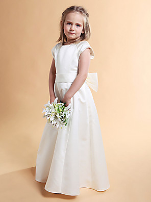 cheap Flower Girl Dresses-Princess / A-Line Floor Length First Communion / Wedding Party Satin Short Sleeve Jewel Neck with Sash / Ribbon / Bow(s) / Spring / Summer / Fall / Winter