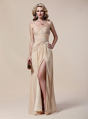 cheap Cocktail Dresses-Sheath / Column Open Back Formal Evening Military Ball Dress Strapless Sleeveless Floor Length Chiffon with Criss Cross Beading Side Draping 2020 / Split Front