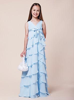 cheap Bridesmaid Dresses-A-Line V Neck Floor Length Chiffon / Stretch Satin Junior Bridesmaid Dress with Bow(s) / Empire / Spring / Summer / Fall / Winter