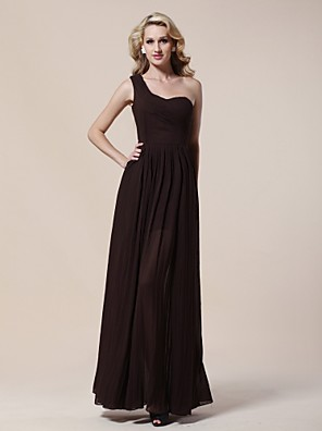 cheap Cocktail Dresses-Sheath / Column Elegant Formal Evening Military Ball Dress One Shoulder Sleeveless Floor Length Chiffon with Pleats Side Draping 2020