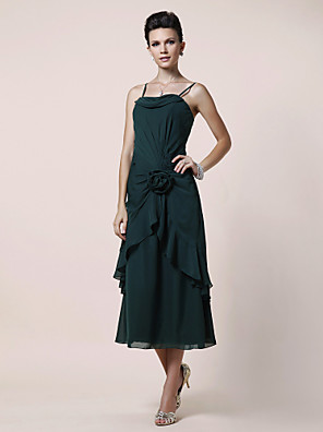 cheap Bridesmaid Dresses-A-Line Mother of the Bride Dress Floral Spaghetti Strap Tea Length Chiffon Sleeveless with Side Draping Flower 2020