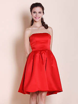 cheap Bridesmaid Dresses-Princess / A-Line Strapless Knee Length Satin Bridesmaid Dress with Pleats
