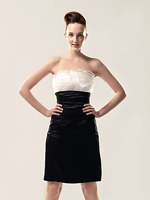 cheap Prom Dresses-Sheath / Column All Celebrity Styles Inspired by TV Stars Holiday Homecoming Cocktail Party Dress Strapless Sleeveless Knee Length Organza Stretch Satin with Ruffles 2020