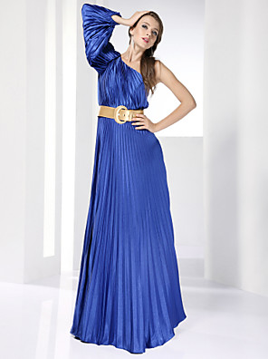 cheap Cocktail Dresses-A-Line Formal Evening Military Ball Dress One Shoulder Long Sleeve Floor Length Stretch Satin with Sash / Ribbon Pleats Draping 2020 / Puff / Balloon Sleeve