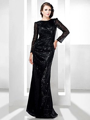 cheap Cocktail Dresses-Sheath / Column All Celebrity Styles Open Back Formal Evening Military Ball Dress Bateau Neck Long Sleeve Floor Length Sequined with 2020