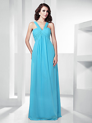 cheap Cocktail Dresses-Sheath / Column Elegant Prom Formal Evening Military Ball Dress Straps V Neck Sleeveless Floor Length Chiffon with Criss Cross Side Draping 2020