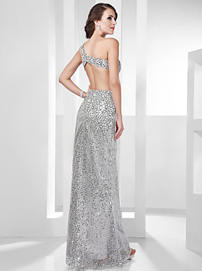 cheap Special Occasion Dresses-Sheath / Column Celebrity Style Beautiful Back Sparkle & Shine Formal Evening Military Ball Dress One Shoulder Sleeveless Floor Length Sequined with Side Draping 2020