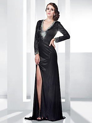 cheap Special Occasion Dresses-Sheath / Column Open Back Formal Evening Military Ball Dress V Neck Long Sleeve Floor Length Stretch Satin with Crystals Split Front 2020