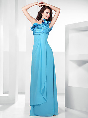 cheap Special Occasion Dresses-Sheath / Column Elegant Prom Formal Evening Military Ball Dress One Shoulder Sleeveless Floor Length Chiffon Stretch Satin with Ruched Ruffles Draping 2020