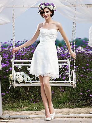cheap Bridesmaid Dresses-Princess A-Line Wedding Dresses Strapless Short / Mini Chiffon Lace Sleeveless Little White Dress with 2020