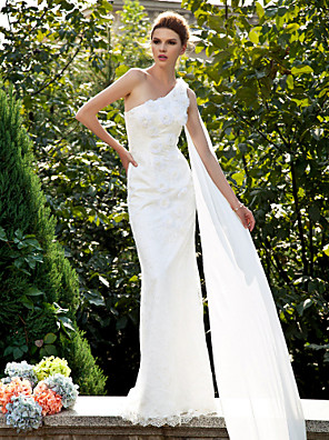 cheap Evening Dresses-Mermaid / Trumpet Wedding Dresses One Shoulder Sweep / Brush Train Lace Sleeveless with Flower 2020
