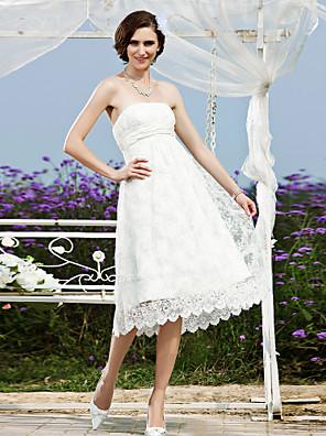 cheap Wedding Dresses-Princess A-Line Wedding Dresses Strapless Tea Length Lace Sleeveless Little White Dress with Sash / Ribbon 2020